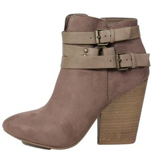 Shoes - Cement Triple Multi Strap Stacked Heel Ankle Boot